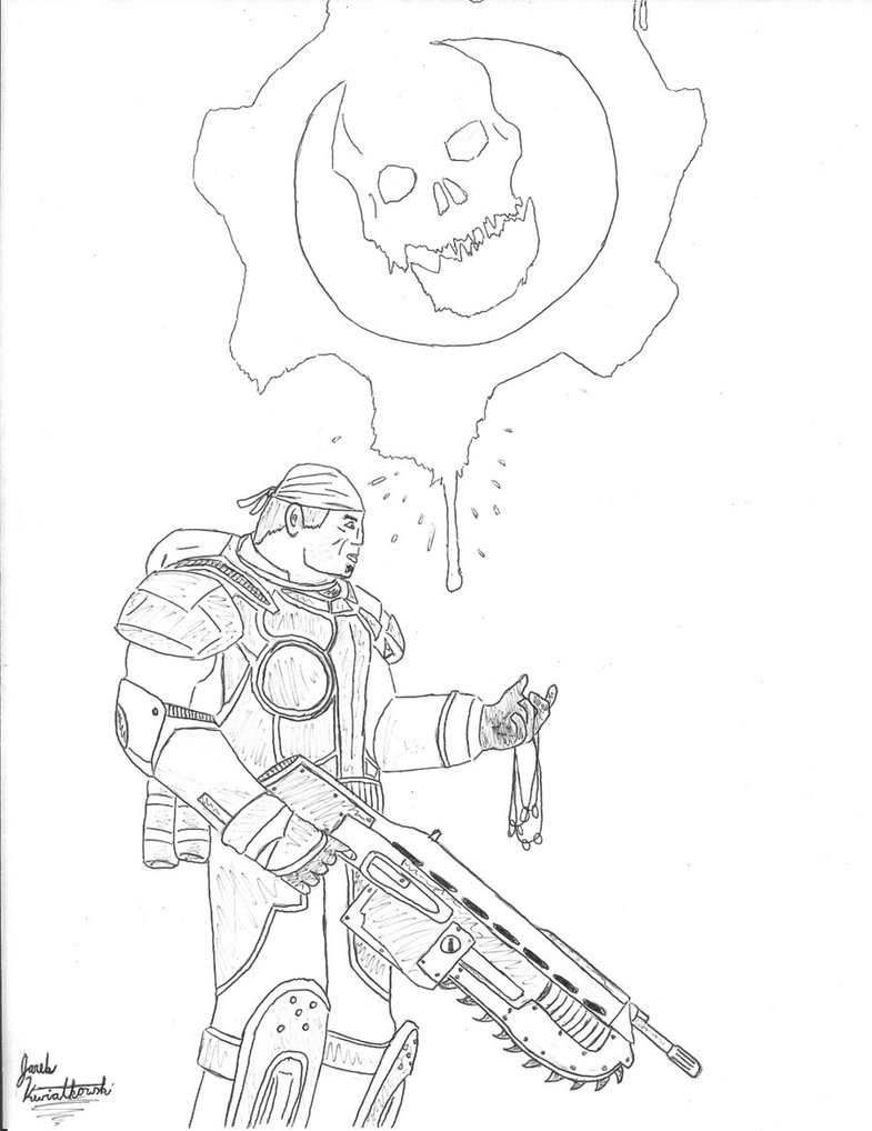 785x1018 Gears Of War Pen Drawing. By Ruckle