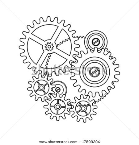 450x470 Clock Gear Shape Blueprint Outline
