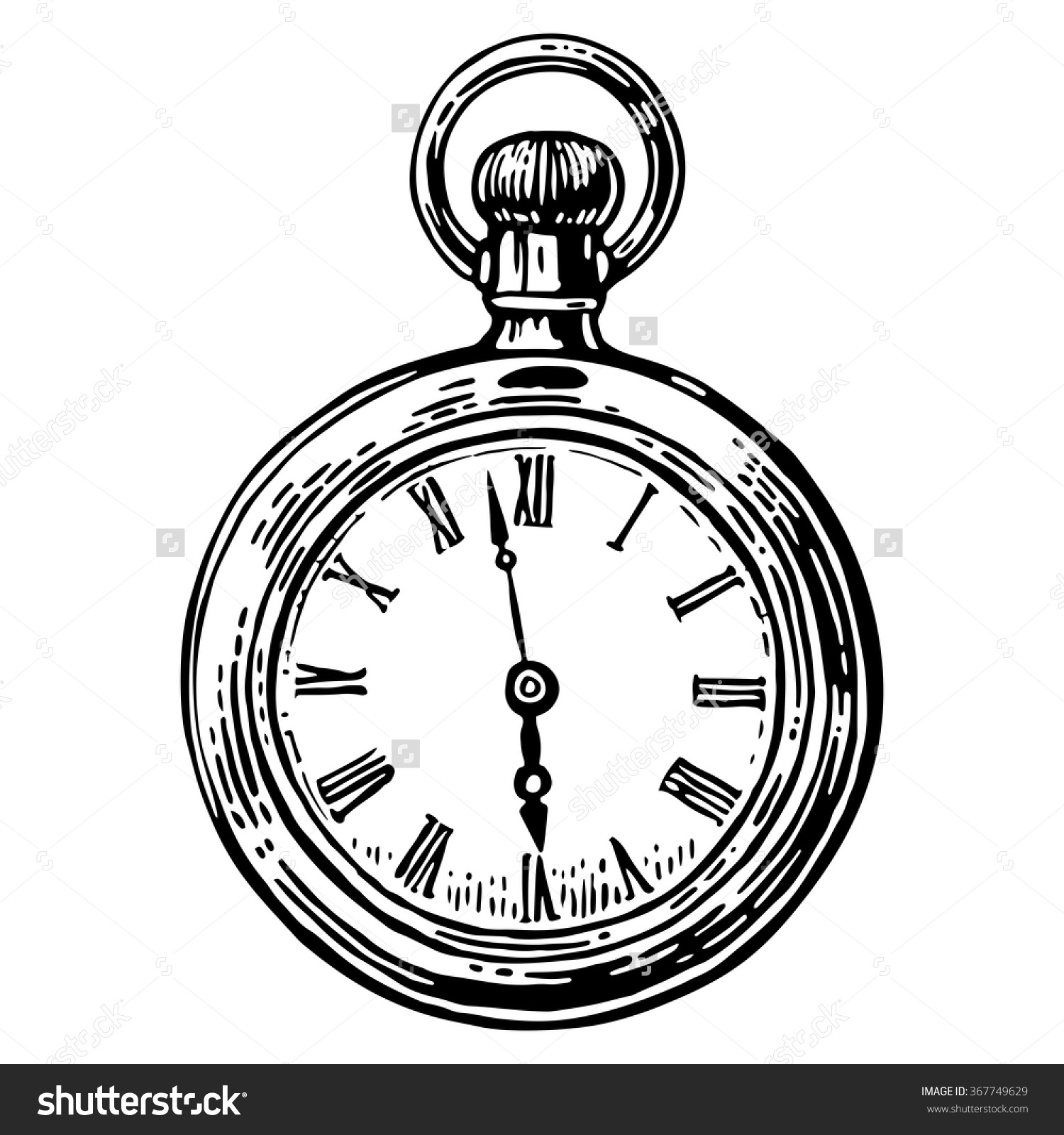1500x1600 Pocket Watch Line Drawing Antique Pocket Watch Vector Vintage