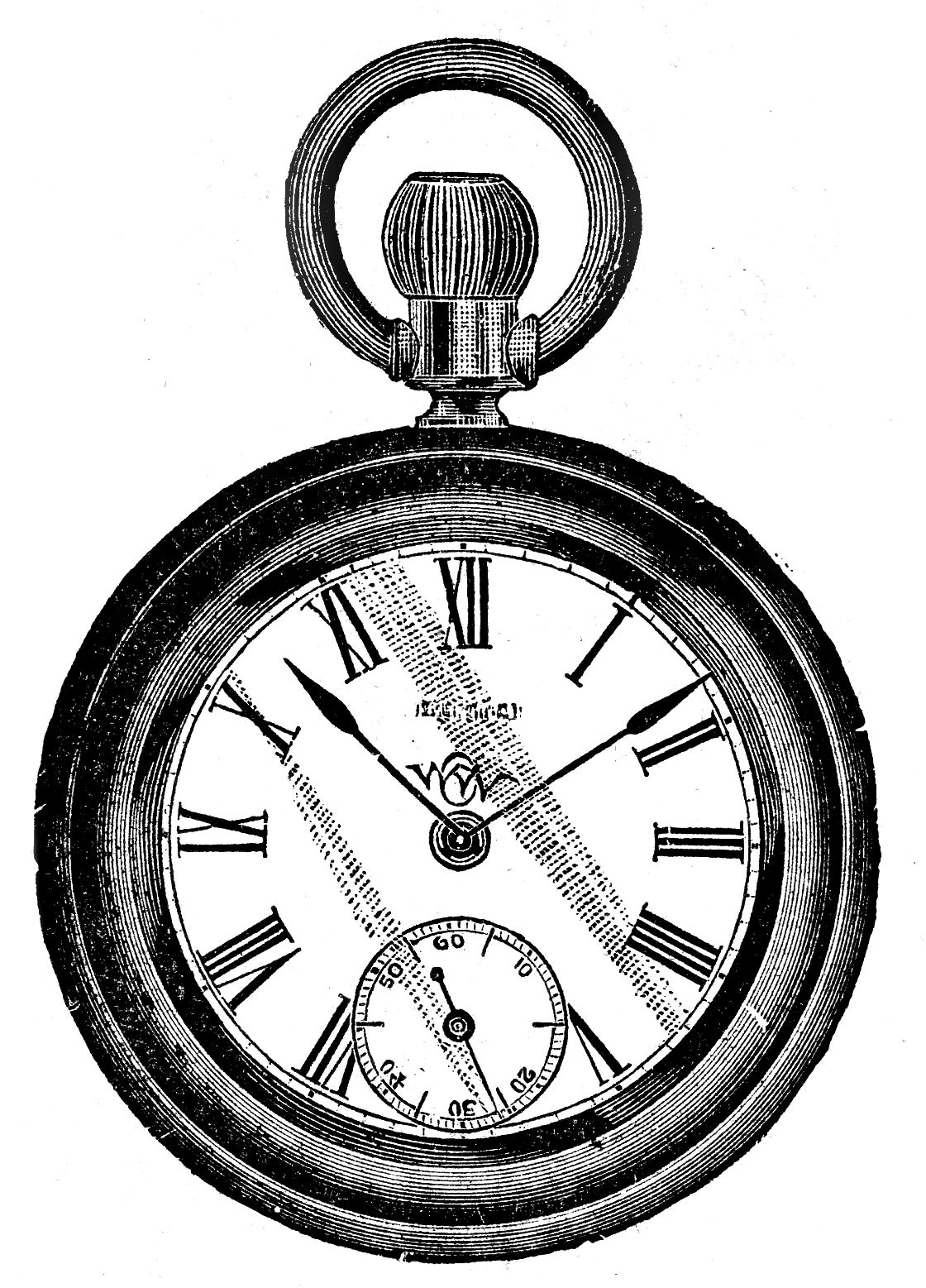 1120x1557 Pocket Watch Line Drawing Vintage Clip Art