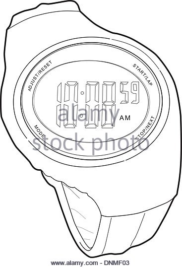 367x540 Sports Watch Line Drawing Stock Photos Amp Sports Watch Line Drawing