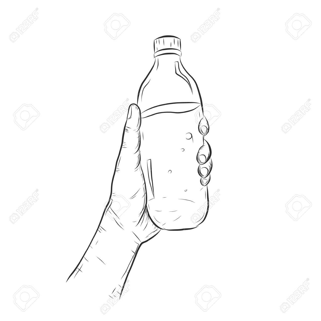 1300x1300 Hand With Bottle Of Water.bottle Of Water By Hand Drawing Royalty