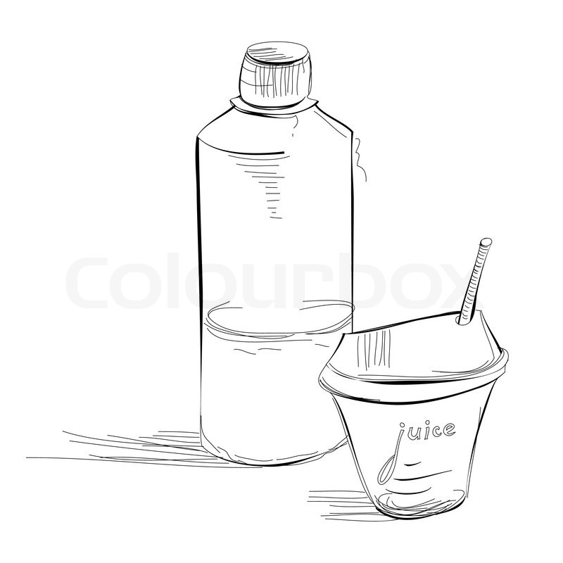 800x800 Bottle And Glass Of Juice Stock Vector Colourbox