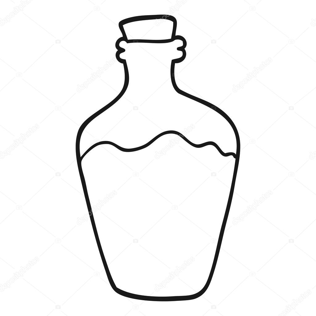 1024x1024 Black And White Cartoon Water Bottle Stock Vector