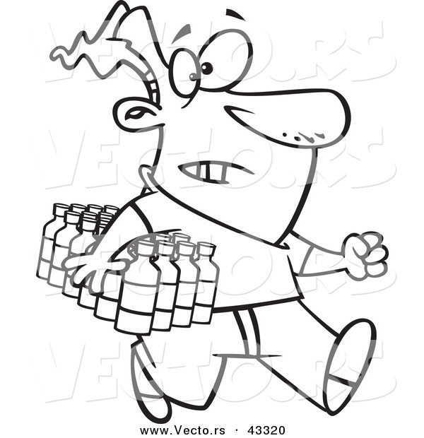600x620 Vector Of A Rushing Cartoon Man Carrying A Flat Of Bottled Water