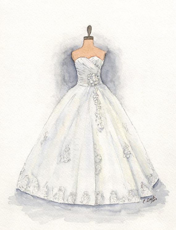 570x744 Custom Wedding Dress Painting Dress Art Dress Drawing