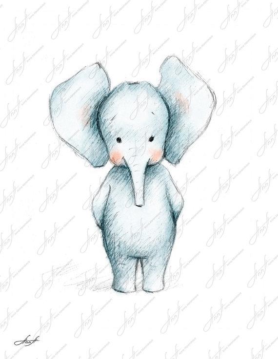570x737 Pencil And Watercolor Drawing Of Elephant By Annaabramskaya Art
