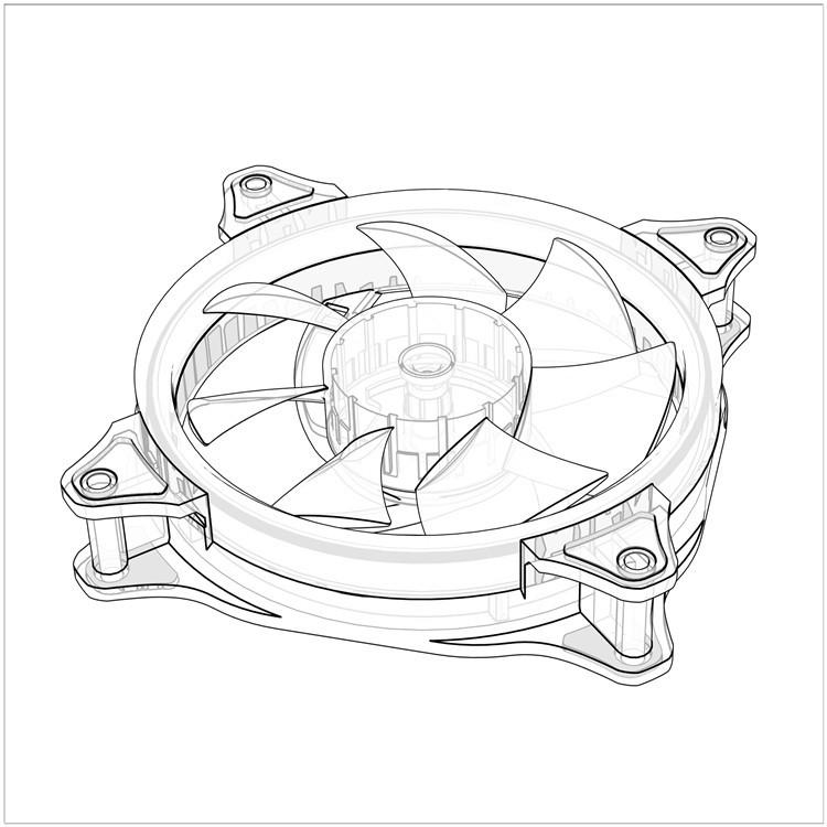 750x750 Case Cooling Fan 120mm Ring Led Fan 3pin4pin Computer Water