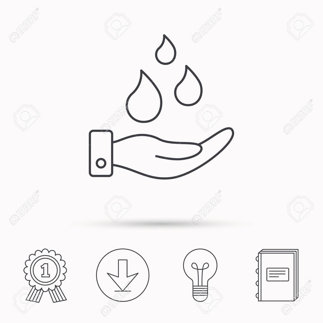 1300x1300 Save Water Icon. Hand With Water Drops Sign. Ecology Environment