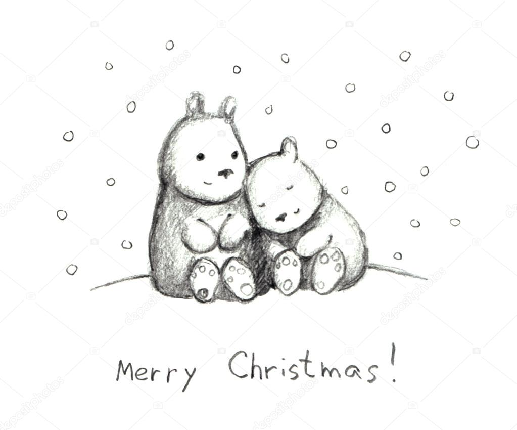 1023x850 Christmas Congratulation Card With Bears And Snow, Pencil Stock