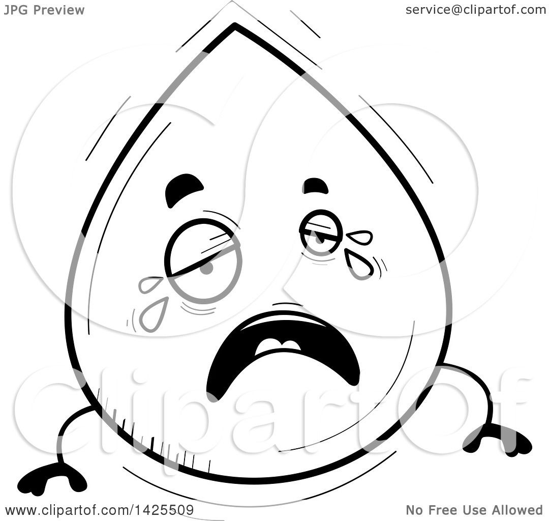 1080x1024 Clipart Of A Cartoon Black And White Lineart Doodled Crying Water