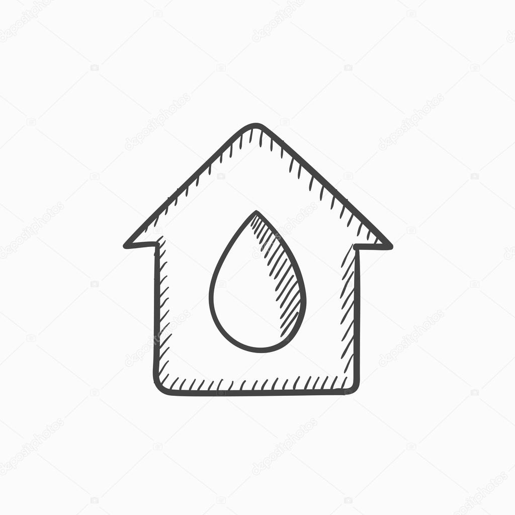 1024x1024 House With Water Drop Sketch Icon. Stock Vector Rastudio