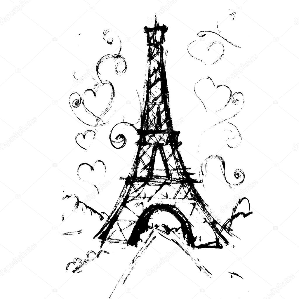 1024x1024 Tour Eiffel Romantic Vector Illustration Heart Frame Drawing Wat