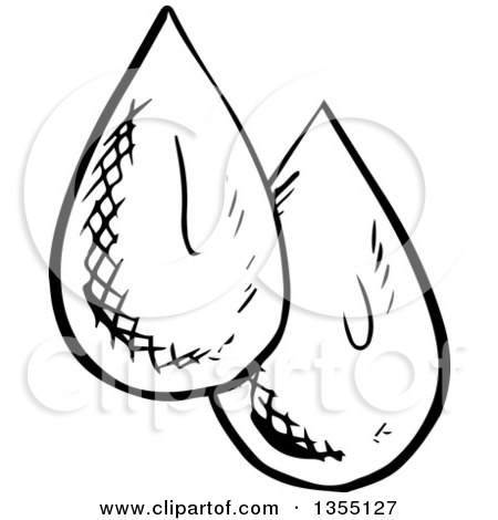 450x470 Clipart Of Black And White Sketched Water Drops
