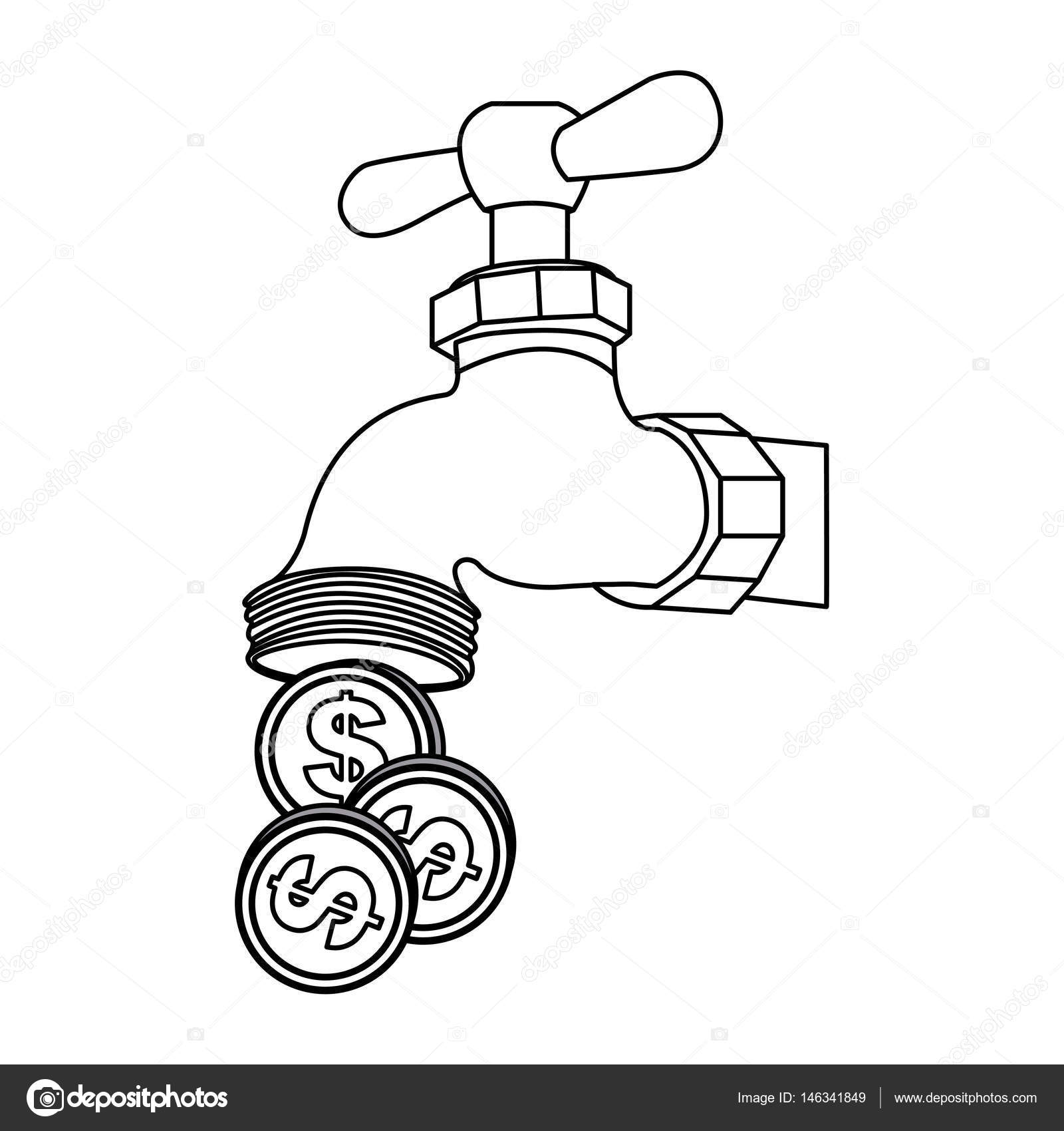 1600x1700 Silhouette Faucet With Coins Save Water Stock Vector
