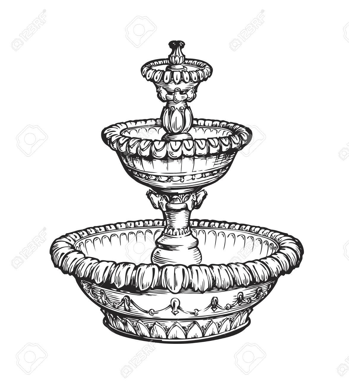 1175x1300 Vintage Fountain. Sketch Vector Illustration Isolated On White