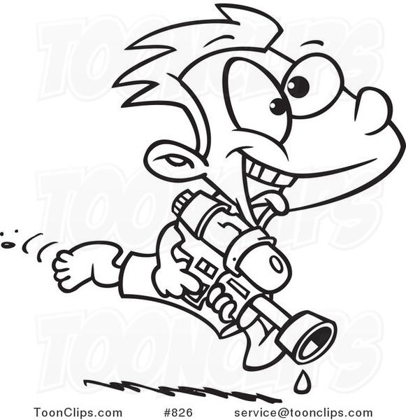 581x600 Cartoon Line Art Design Of A Playful Boy Running With A Water Gun