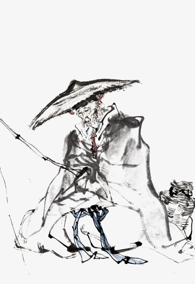 650x948 The Old Man Chinese Leisure Fishing Wind Ink, Water Fishing, Old
