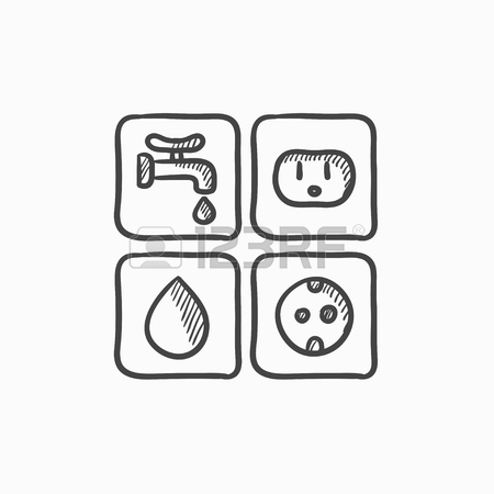 450x450 Utilities Signs Electricity And Water Vector Sketch Icon Isolated