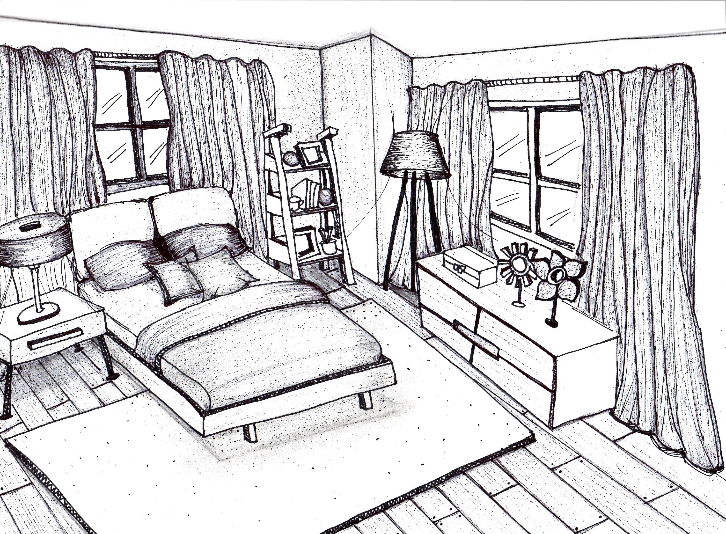 3003x2209 Bedroom Interior Sketch Bedroom By Pencil And Watercolor Stock