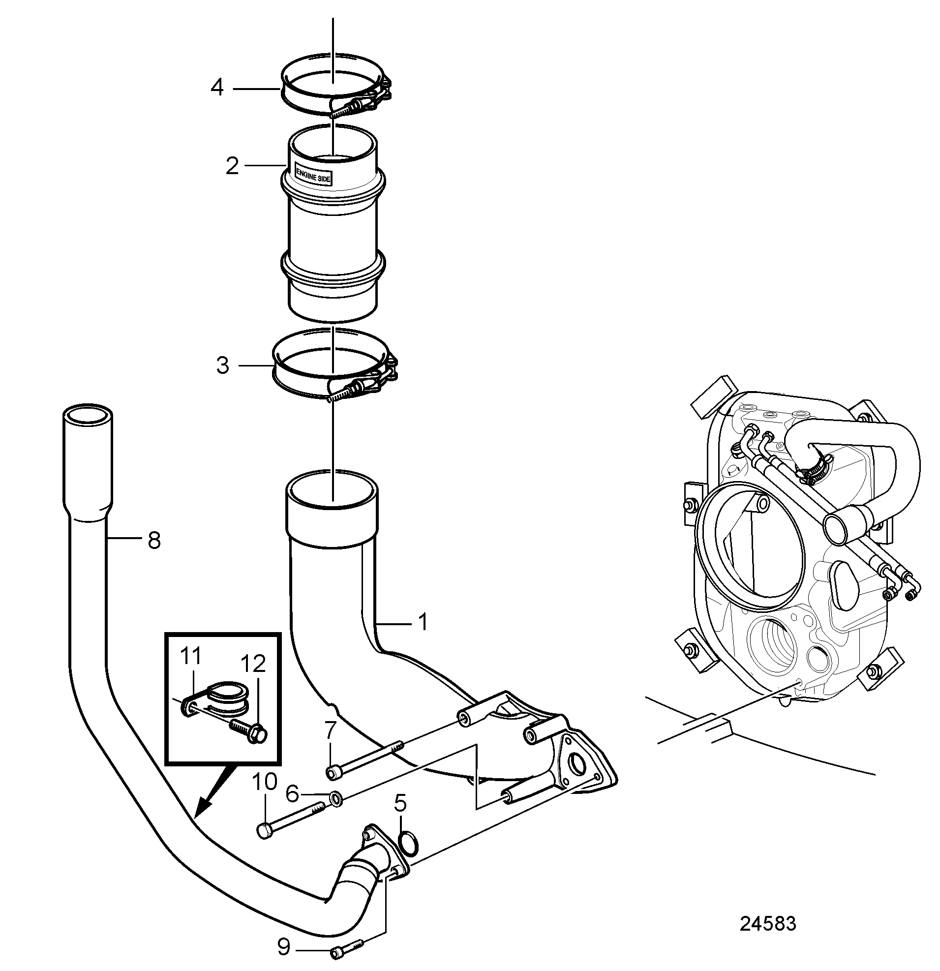 1911x1974 Exhaust Pipe And Cooling Water Pipe Dphdpr Drive Unit