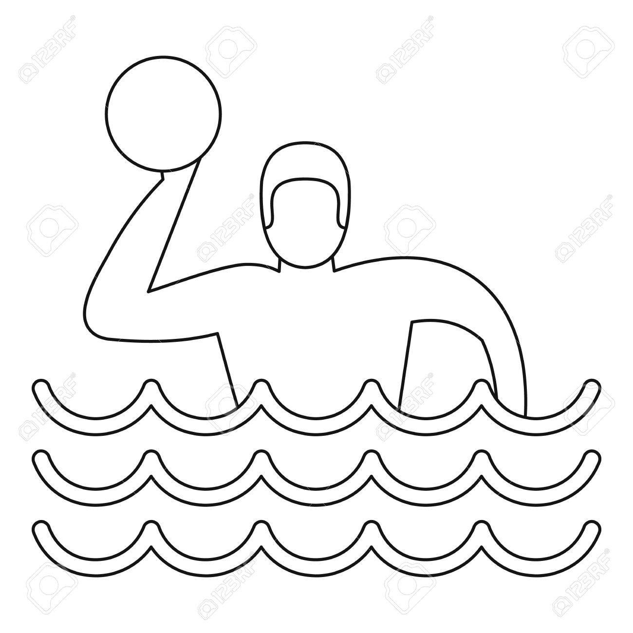 1300x1300 Water Polo Player Icon. Outline Illustration Of Water Polo Player