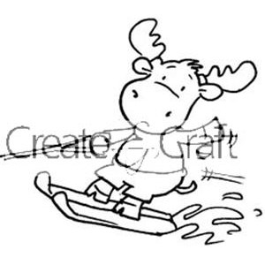 300x300 Water Ski Riley (Riley The Moose Rubber Stamp)