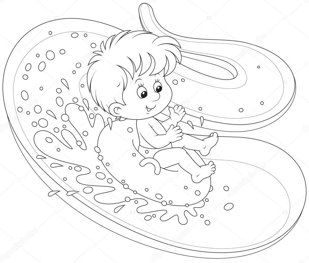 1024x873 Boy On A Water Slide Stock Vector Alexbannykh