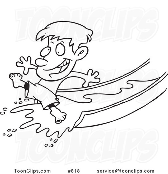 581x600 Cartoon Line Art Design Of A Happy Boy On A Water Slide