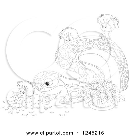 450x470 Cartoon Of Happy Children Going Down A Water Park Slide
