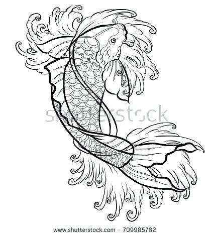 418x470 Koi Fish Outlines Hand Drawn Outline Fish And Water Splash Art