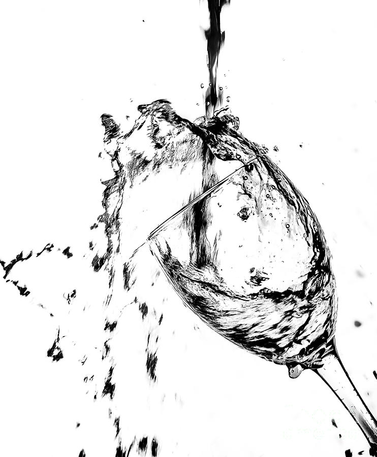 742x900 Wine Pour Splash In Black And White 2 Photograph By Jc Kirk