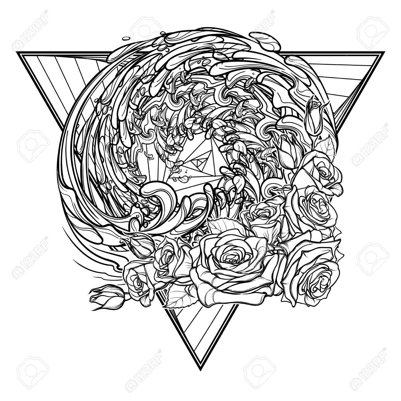 1300x1300 Alchemic Element Of Water Sign. Down Pointing Triangle With Rose