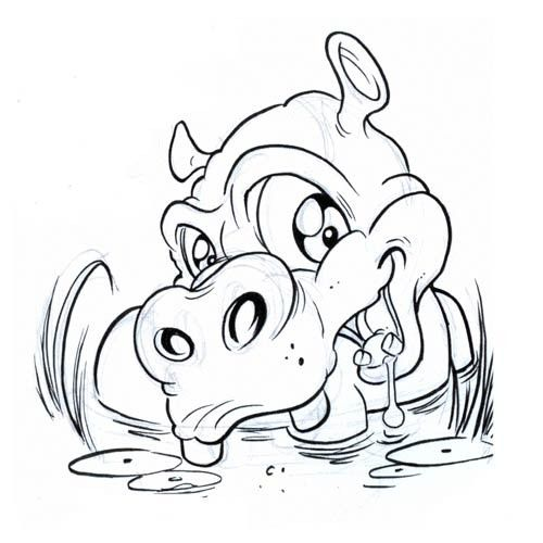 500x500 Lovely Animated Hippo Splashing In Water Tattoo Design Tribal 1