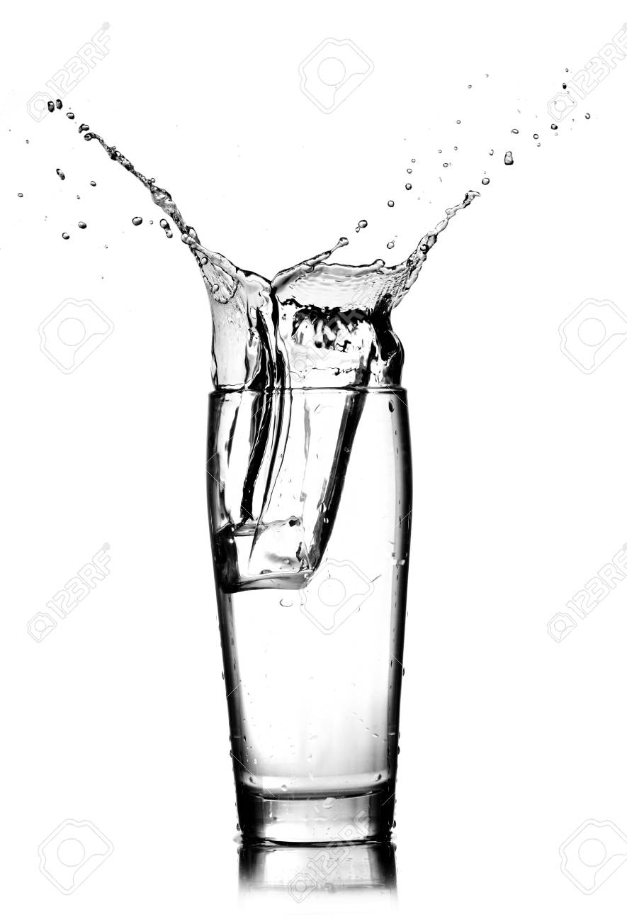 885x1300 Water Splash In Glass Isolated On White Stock Photo, Picture