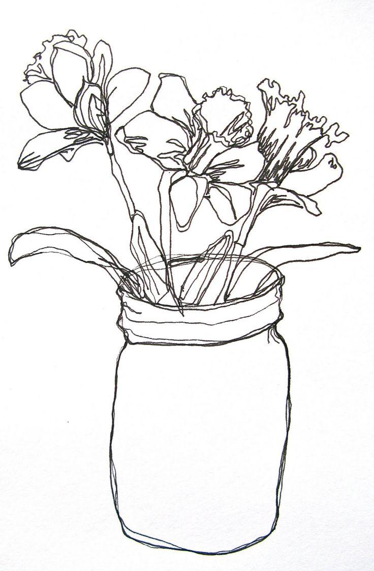 736x1122 Simple Flower Vase Sketches Beautiful Flower Line Drawings
