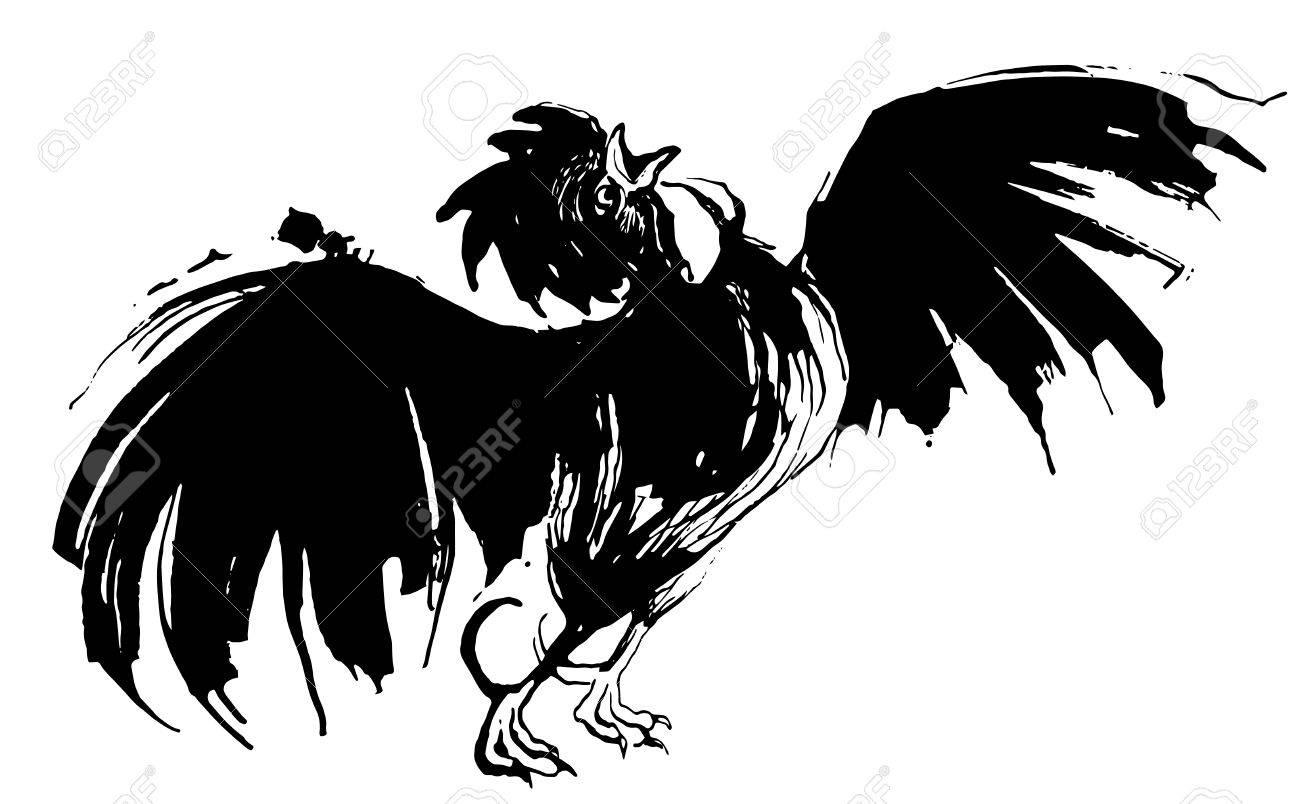 1300x804 Vector Illustration Hand Drawn Watercolor Cock Crowing