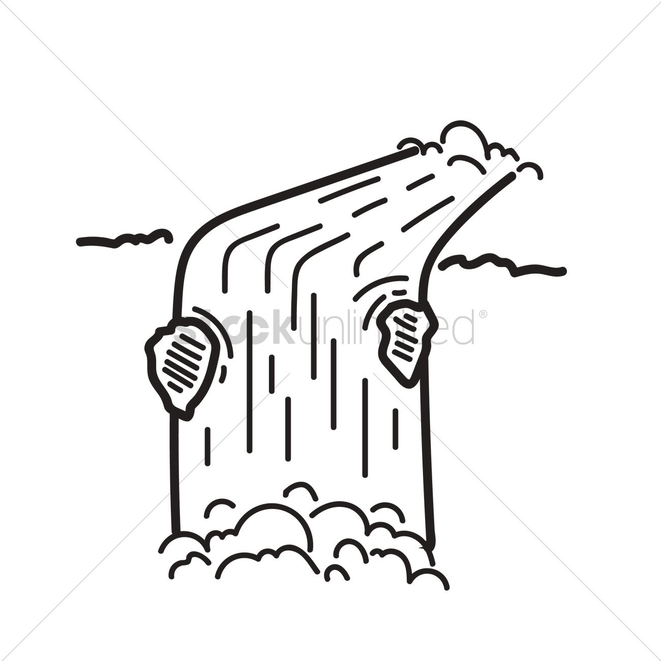 1300x1300 Free Waterfall Vector Image
