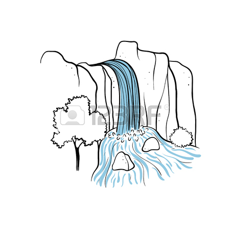 450x450 623 Beautiful Waterfall And Forest Stock Illustrations, Cliparts