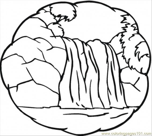 650x580 Little Waterfall Coloring Page