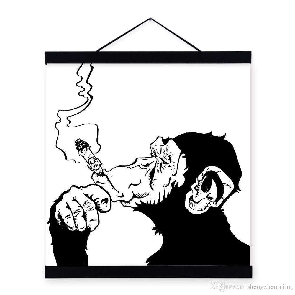 1000x1000 Mild Art Drawings Smoking Gorilla Chimpanzee Black White Fashion