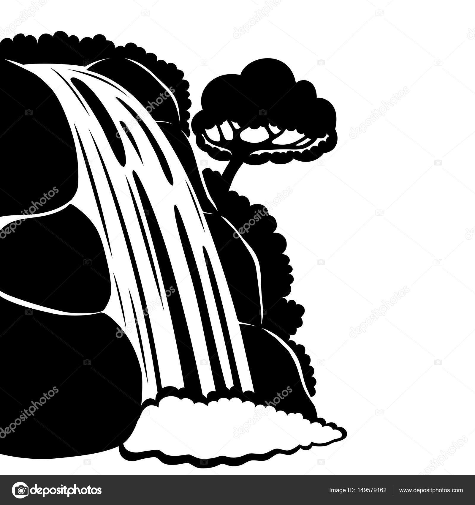 1600x1700 Silhouette Of Beautiful Waterfall. Stock Vector Taronin