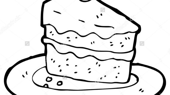570x320 Slice Of Cake Drawing Piece Of Cake Sketch Stock Illustration