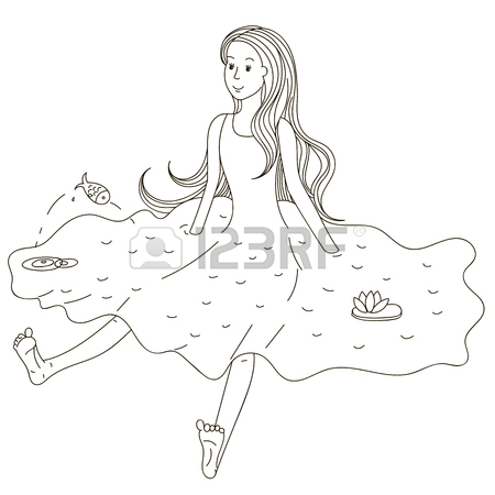 450x450 A Girl Sits In The Water, Water As A Dress, Hair Like A Waterfall