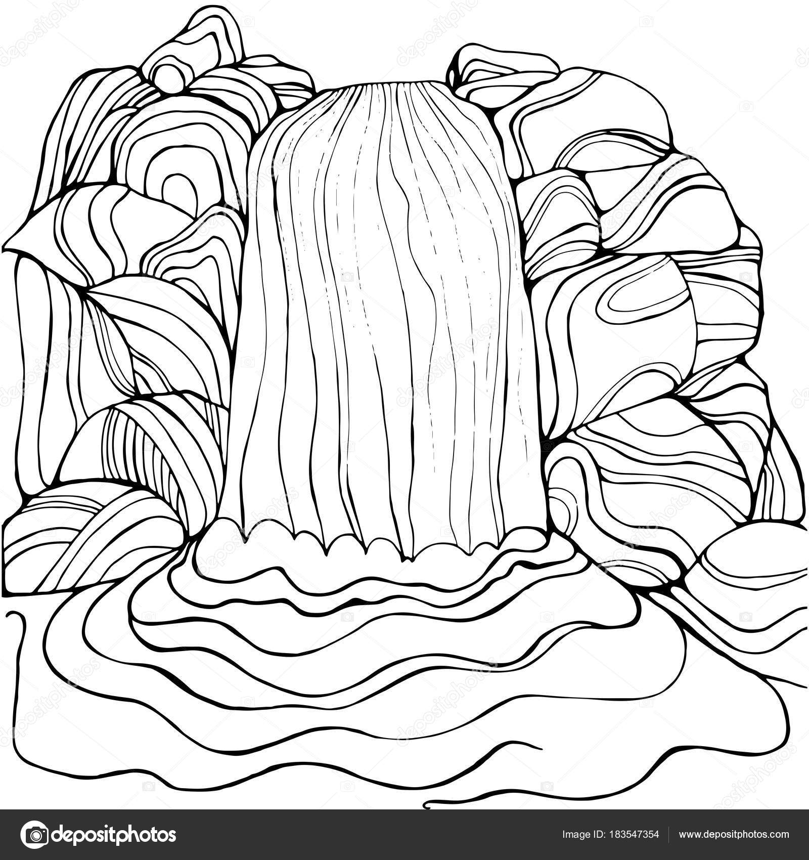 1600x1700 Waterfall Coloring Page For Children And Adults. Stock Vector