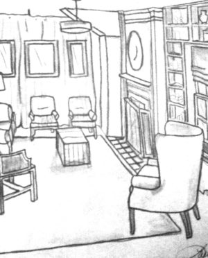 300x372 Chic Pencil Drawing Features Living Room Sketches And Awesome