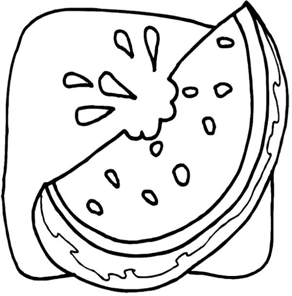 600x608 Watermelon Slice Coloring Page Acura Watermelon Slices