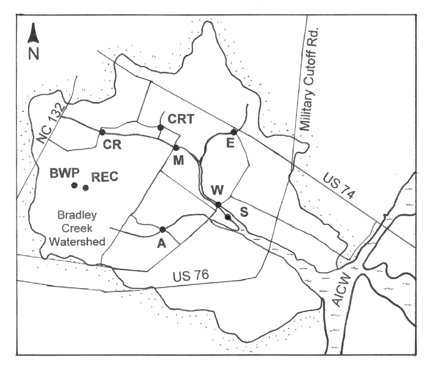 845x726 Map Of Bradley Creek Watershed, Showing Long Term Locations