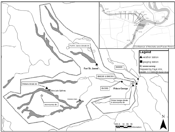 600x452 River Watershed, Climate Stations And Cross Section Locations.