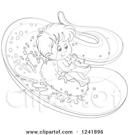 450x470 Clipart Of A Black And White Happy Boy Tubing Down A Waterslide